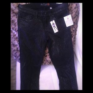 G by Guess black stretchy jeans with glitter